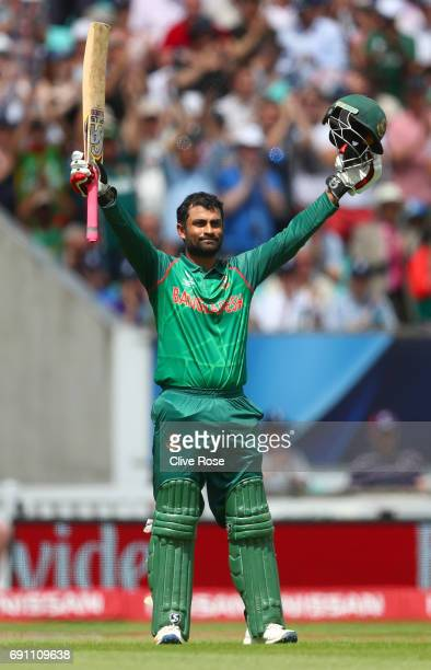 Tamim Iqbal Khan of Bangladesh celebrates his century during the ICC Champions Cup Group A match between England and Bangladesh at The Kia Oval on...
