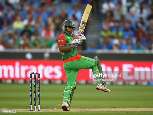 Tamim Iqbal of Bangladesh bats during the 2015 ICC Cricket World Cup match between India and Bangldesh at Melbourne Cricket Ground on March 19 2015...