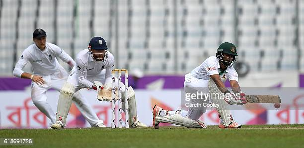 Tamim Iqbal of Bangladesh bats during the first day of the 2nd Test match between Bangladesh and England at ShereBangla National Cricket Stadium on...