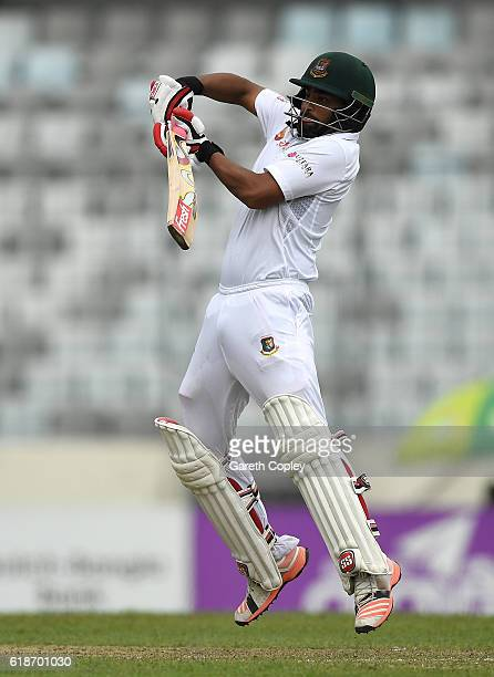 Tamim Iqbal of Bangladesh bats during the first day of the 2nd Test match between Bangladesh and England at ShereBangla National Cricket Stadium on...