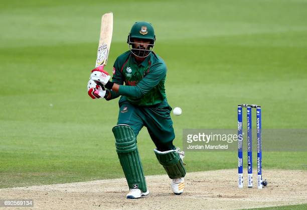 Tamim Iqbal of Bangladesh bats during the ICC Champions Trophy match between Australia and Bangladesh at The Kia Oval on June 5 2017 in London England
