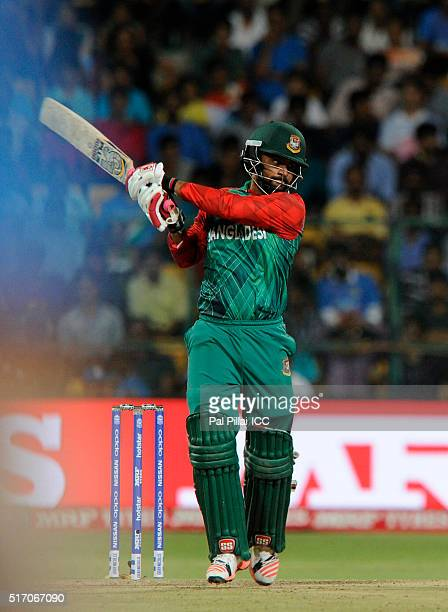 Tamim Iqbal of Bangladesh bats during the ICC World Twenty20 India 2016 match between India and Bangladesh at the Chinnaswamy stadium on March 23...