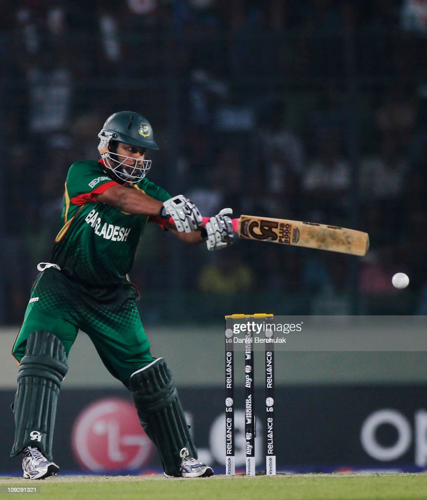 <a gi-track='captionPersonalityLinkClicked' href=/galleries/search?phrase=Tamim+Iqbal&family=editorial&specificpeople=4181226 ng-click='$event.stopPropagation()'>Tamim Iqbal</a> of Bangladesh bats during the opening game of the ICC Cricket World Cup between Bangladesh and India at the Shere-e-Bangla National Stadium on February 19, 2011 in Dhaka, Bangladesh.