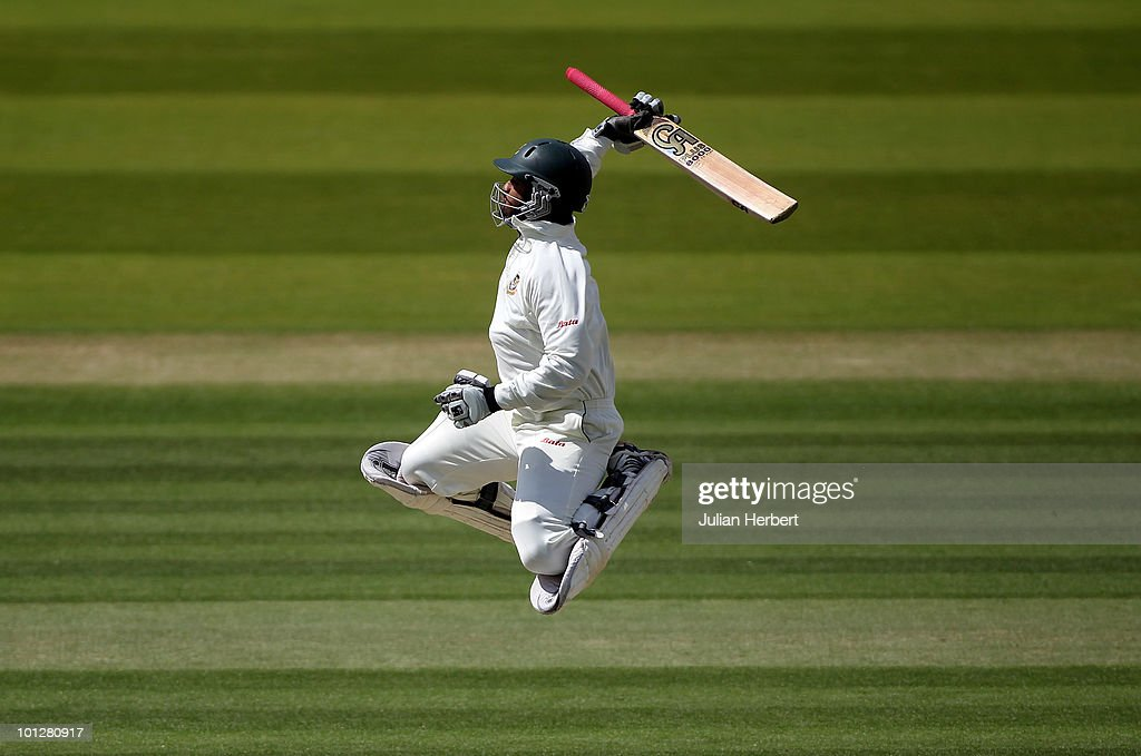 Tamim Iqbal of Bangladesh celebrates his 100 during day four of the 1st npower Test between England and Bangladesh played at Lords on May 30, 2010 in London, England.