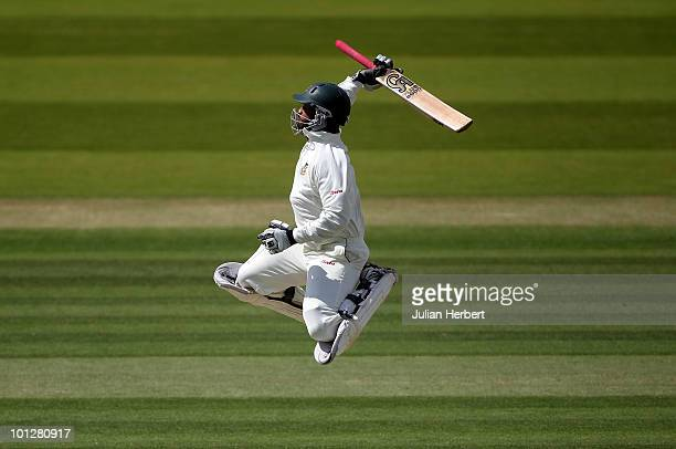 Tamim Iqbal of Bangladesh celebrates his 100 during day four of the 1st npower Test between England and Bangladesh played at Lords on May 30 2010 in...