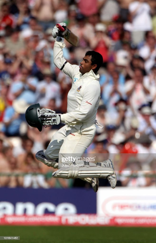 Tamim Iqbal of Bangladesh celebrates his 100 on day two of the 2nd npower Test between England and Bangladesh at Old Trafford on June 5, 2010 in Manchester, England.