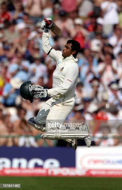 Tamim Iqbal of Bangladesh celebrates his 100 on day two of the 2nd npower Test between England and Bangladesh at Old Trafford on June 5 2010 in...