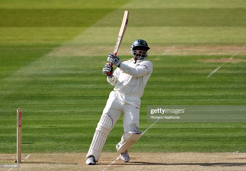 Tamim Iqbal of Bangladesh hits a boundary during day two of the 1st npower Test between England and Bangladesh at Lords on May 28, 2010 in London, England.