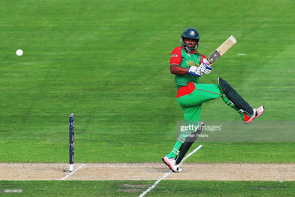 Tamim Iqbal of Bangladesh pulls the ball away for four runs during the 2015 ICC Cricket World Cup match between Bangladesh and Scotland at Saxton Field on March 5, 2015 in Nelson, New Zealand.