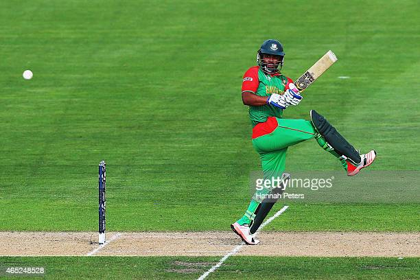Tamim Iqbal of Bangladesh pulls the ball away for four runs during the 2015 ICC Cricket World Cup match between Bangladesh and Scotland at Saxton...