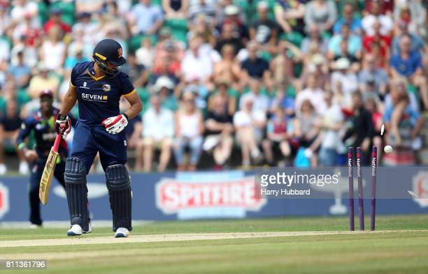 Tamim Iqbal of Essex Eagles is bowled by Adam Milne of Kent Spitfires during the Natwest T20 Blast match between Kent Spitfires and Essex Eagles at...