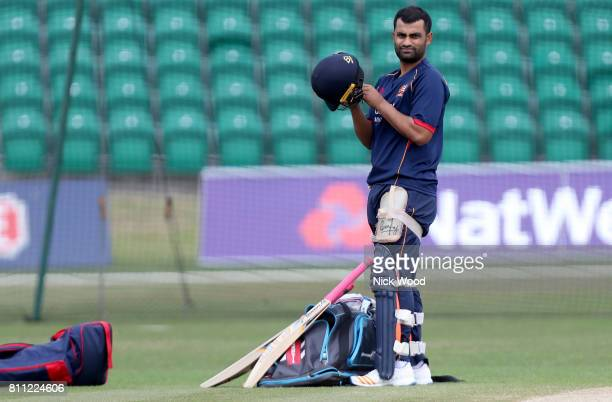 Tamim Iqbal of Essex prepares to net during the Kent Spitfires v Essex Eagles NatWest T20 Blast cricket match at the County Ground on July 09 2017 in...