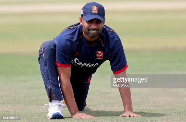 Tamim Iqbal of Essex stretches prior to the start of the game during the Kent Spitfires v Essex Eagles NatWest T20 Blast cricket match at the County...