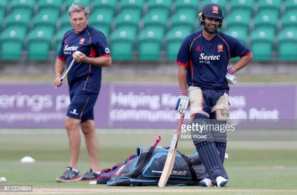Tamim Iqbal of Essex waits to enter the batting nets during the Kent Spitfires v Essex Eagles NatWest T20 Blast cricket match at the County Ground on...