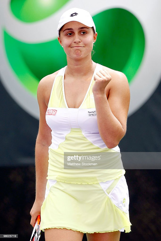 <a gi-track='captionPersonalityLinkClicked' href=/galleries/search?phrase=Tamira+Paszek&family=editorial&specificpeople=579687 ng-click='$event.stopPropagation()'>Tamira Paszek</a> of Austria celebrates after match point against Anne Keothavong of Great Britain during day two of the 2010 Sony Ericsson Open at Crandon Park Tennis Center on March 24, 2010 in Key Biscayne, Florida.