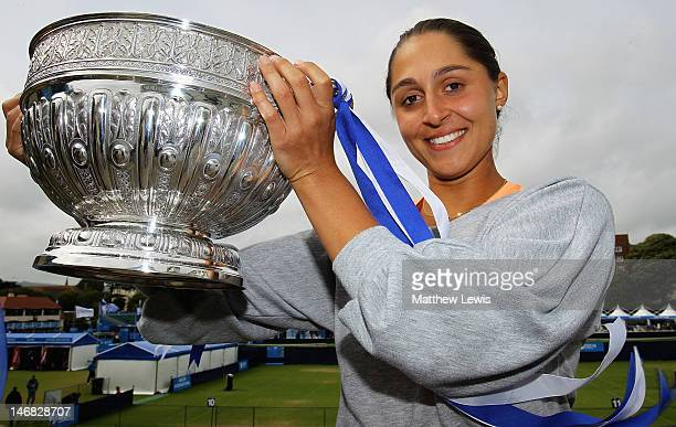 Tamira Paszek of Austria pictured with the trophy after winning her match against Angelique Kerber of Germany during the Womens Singles Final day...