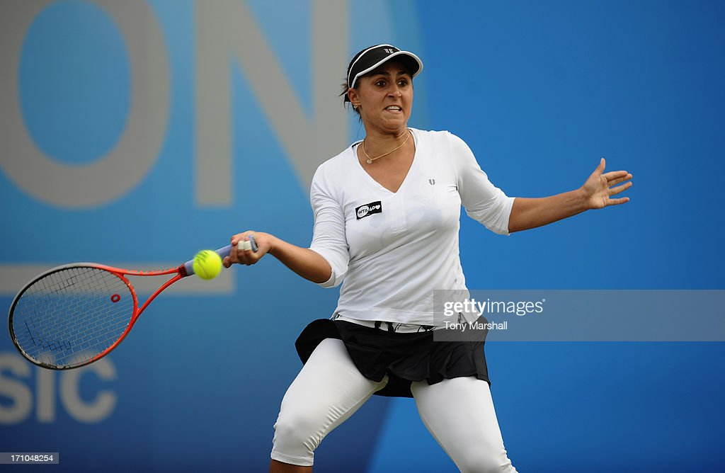 <a gi-track='captionPersonalityLinkClicked' href=/galleries/search?phrase=Tamira+Paszek&family=editorial&specificpeople=579687 ng-click='$event.stopPropagation()'>Tamira Paszek</a> of Austria returns a shot from Alison Riske of USA during The AEGON Classic Tennis Tournament at Edgbaston Priory Club on June 11, 2013 in Birmingham, England.