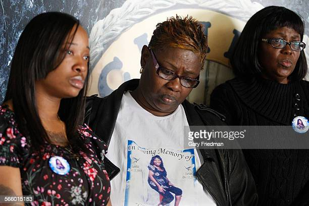Tamisha Taylor Trina Newman and Varetta Woods the family of Gwendolyn Taylor appear at a press conference announcing a $35000 reward at the Inglewood...