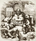 Tammany state senate candidate William Marcy Tweed is shown among the ruins of Tammany Hall but he was reelected a political cartoon by Thomas Nast...
