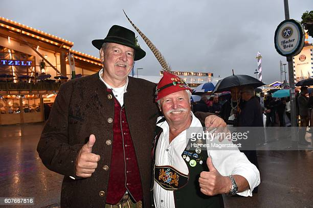 Tamme Hanken and Horst Berger during the Oktoberfest at Theresienwiese on September 18 2016 in Munich Germany