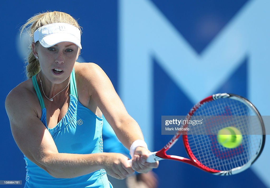 Tammi Patterson of Australia plays a backhand in her qualifying singles match with Garbine Muguruza of Spain during day two of the Hobart International at Domain Tennis Centre on January 5, 2013 in Hobart, Australia.