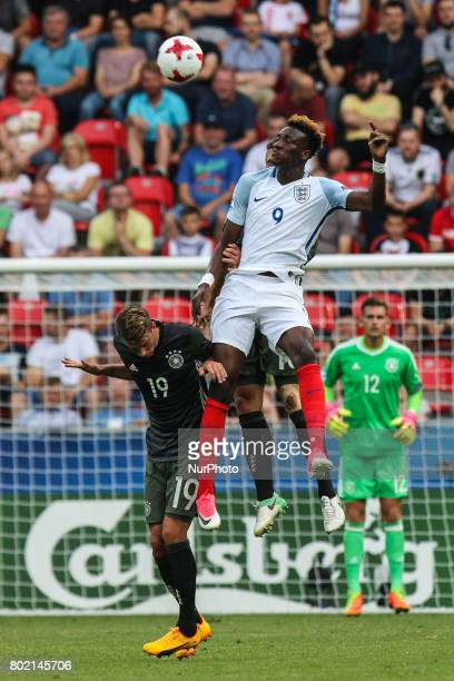 Tammy Abraham Janik Haberer during the UEFA European Under21 Championship Semi Final match between England and Germany at Tychy Stadium on June 27...