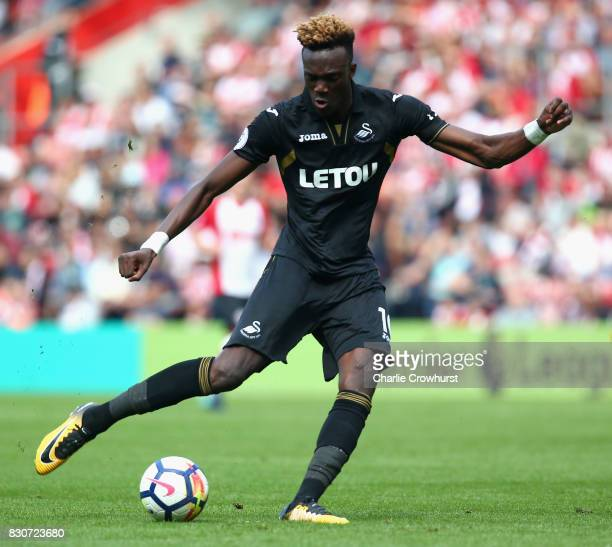 Tammy Abraham o Swansea City in action during the Premier League match between Southampton and Swansea City at St Mary's Stadium on August 12 2017 in...