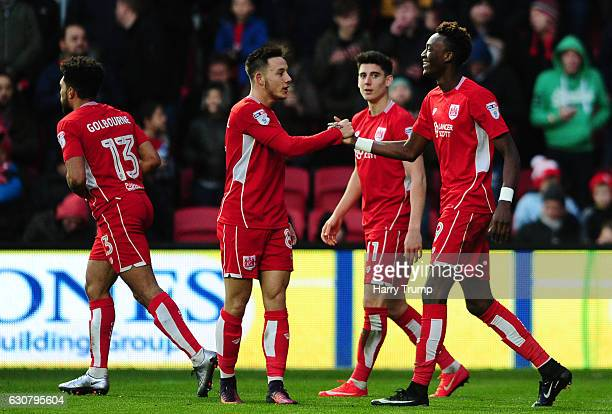 Tammy Abraham of Bristol City celebrates his sides second goal during the Sky Bet Championship match between Bristol City and Reading at Ashton Gate...