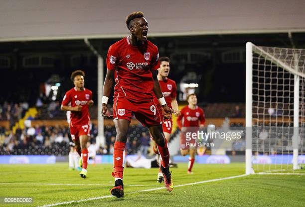 Tammy Abraham of Bristol City celebrates scoring his sides second goal during the EFL Cup Third Round match between Fulham and Bristol City at Craven...