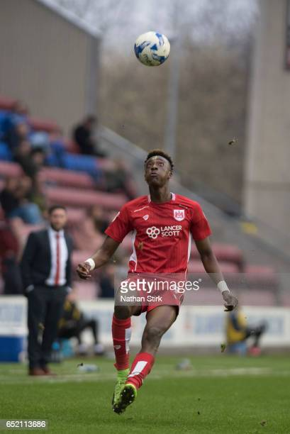Tammy Abraham of Bristol City in action during the Sky Bet Championship match between Wigan Athletic and Bristol City at DW Stadium on March 11 2017...
