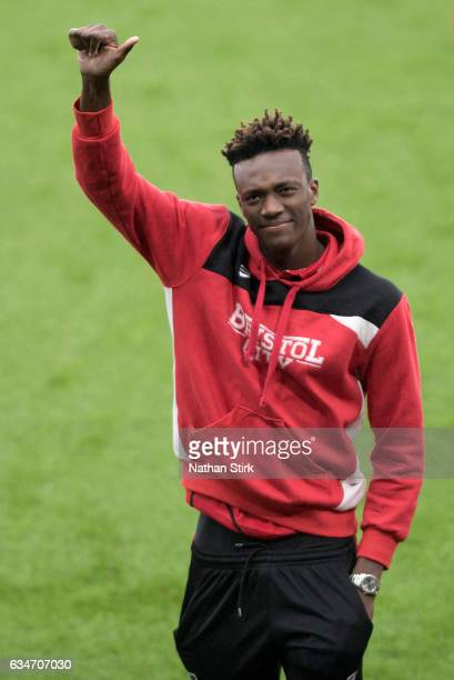 Tammy Abraham of Bristol City looks on before the Sky Bet Championship match between Derby County and Bristol City at the iPro Stadium on February 11...