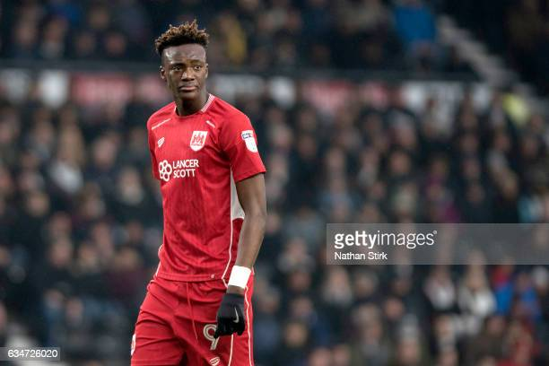 Tammy Abraham of Bristol City looks on during the Sky Bet Championship match between Derby County and Bristol City at the iPro Stadium on February 11...
