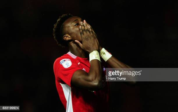Tammy Abraham of Bristol City reacts during the Sky Bet Championship match between Bristol City and Sheffield Wednesday at Ashton Gate on January 31...