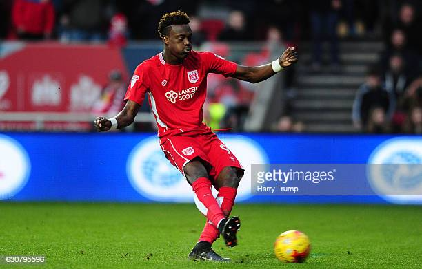 Tammy Abraham of Bristol City scores his sides second goal during the Sky Bet Championship match between Bristol City and Reading at Ashton Gate on...