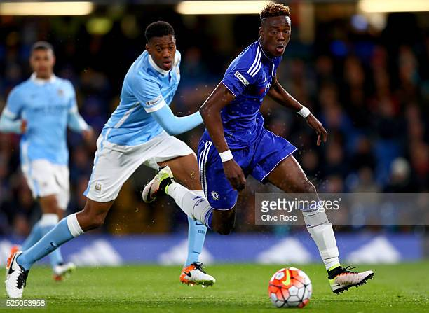 Tammy Abraham of Chelsea is challenged by Tosin Adarabioyo of Manchester City during the FA Youth Cup Final Second Leg between Chelsea and Manchester...