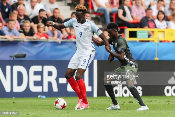 Tammy Abraham of England and Gideon Jung of Germany battle for the ball during the UEFA European Under21 Championship Semi Final match between...