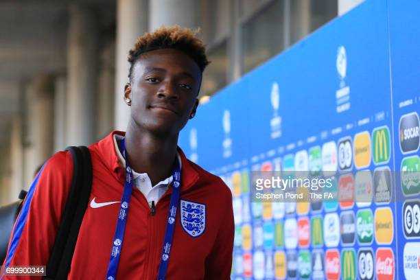 Tammy Abraham of England arrives at the stadium prior to the UEFA European Under21 Championship Group A match between England and Poland at Kielce...