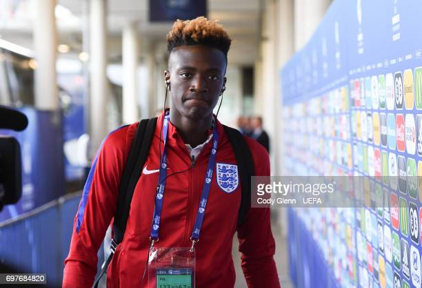 Tammy Abraham of England arrives before their UEFA European Under21 Championship match against Slovakia on June 19 2017 in Kielce Poland