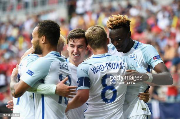 Tammy Abraham of England celebrates scoring his sides second goal with his England team mates during the UEFA European Under21 Championship Semi...
