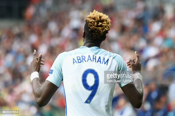 Tammy Abraham of England celebrates scoring his sides second goal during the UEFA European Under21 Championship Semi Final match between England and...