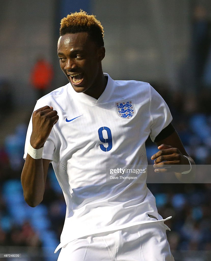 Tammy Abraham of England celebrates scoring his sides third goal during the U19 International friendly match between England and Japan at Manchester City Academy Stadium on November 15, 2015 in Manchester, England.