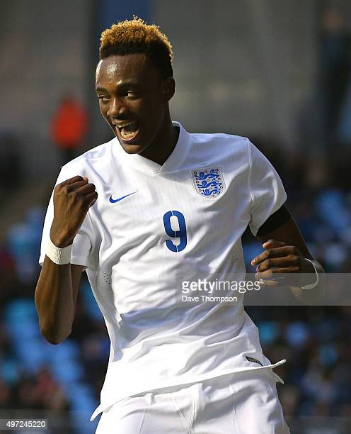 Tammy Abraham of England celebrates scoring his sides third goal during the U19 International friendly match between England and Japan at Manchester...