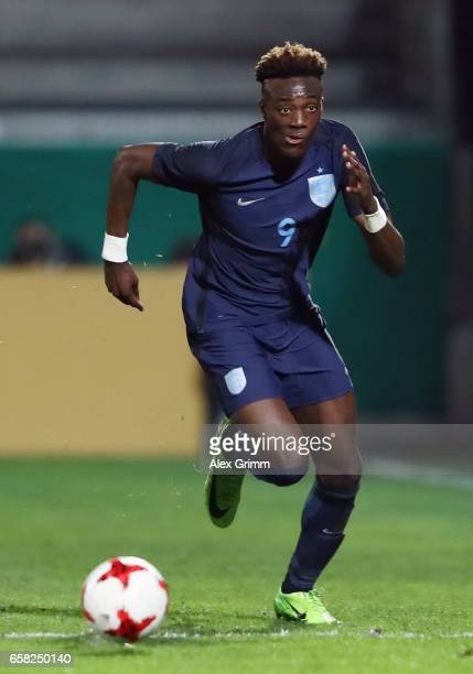 Tammy Abraham of England controles the ball during the international friendly match between U21 Germany and U21 England at BRITAArena on March 24...