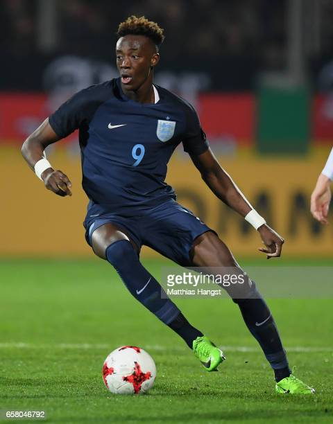 Tammy Abraham of England controls the ball during the U21 International Friendly match between U21 Germany and U21 England at BRITAArena on March 24...