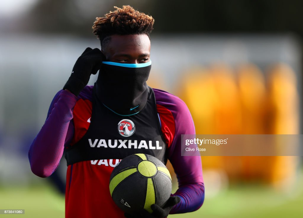 Tammy Abraham of England during an England training session ahead of the International Friendly match between England and Brazil on November 13, 2017 in Enfield, England.