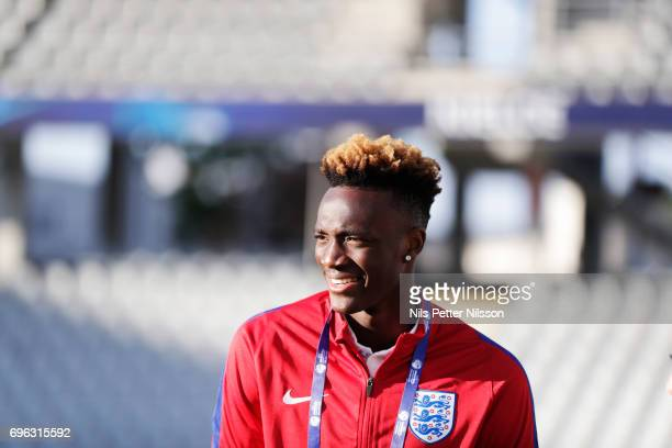 Tammy Abraham of England during the English U21 national team walk around at Kielce Arena on June 15 2017 in Kielce Poland