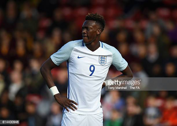 Tammy Abraham of England during the UEFA European U21 Championship qualifier match between England and Bosnia and Herzegovina at Banks' Stadium on...