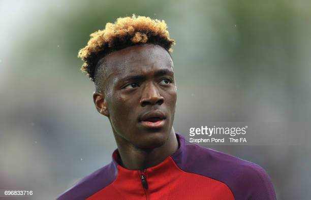 Tammy Abraham of England during the warm up session ahead of the 2017 UEFA European Under21 Championship match between Sweden and England at Arena...