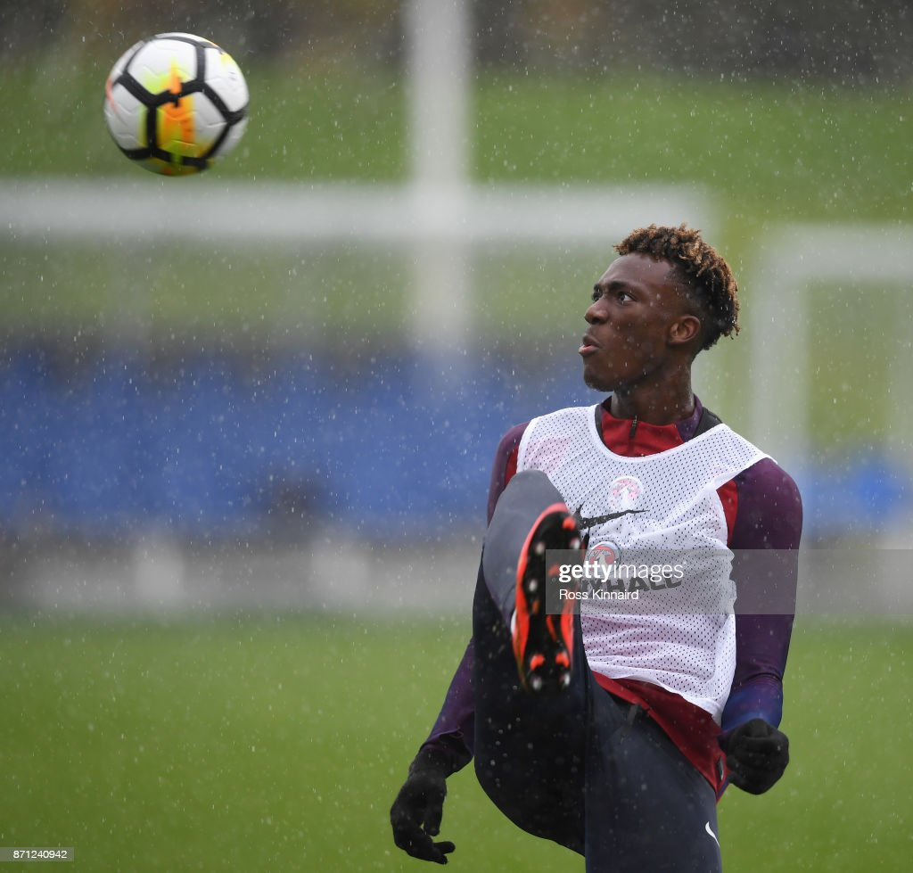 Tammy Abraham of England in action during an England training session at St Georges Park on November 7, 2017 in Burton-upon-Trent, England.