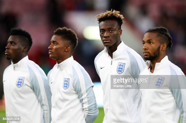 Tammy Abraham of England looks on ahead of the UEFA Under 21 Championship Qualifiers between England and Latvia at Vitality Stadium on September 5...